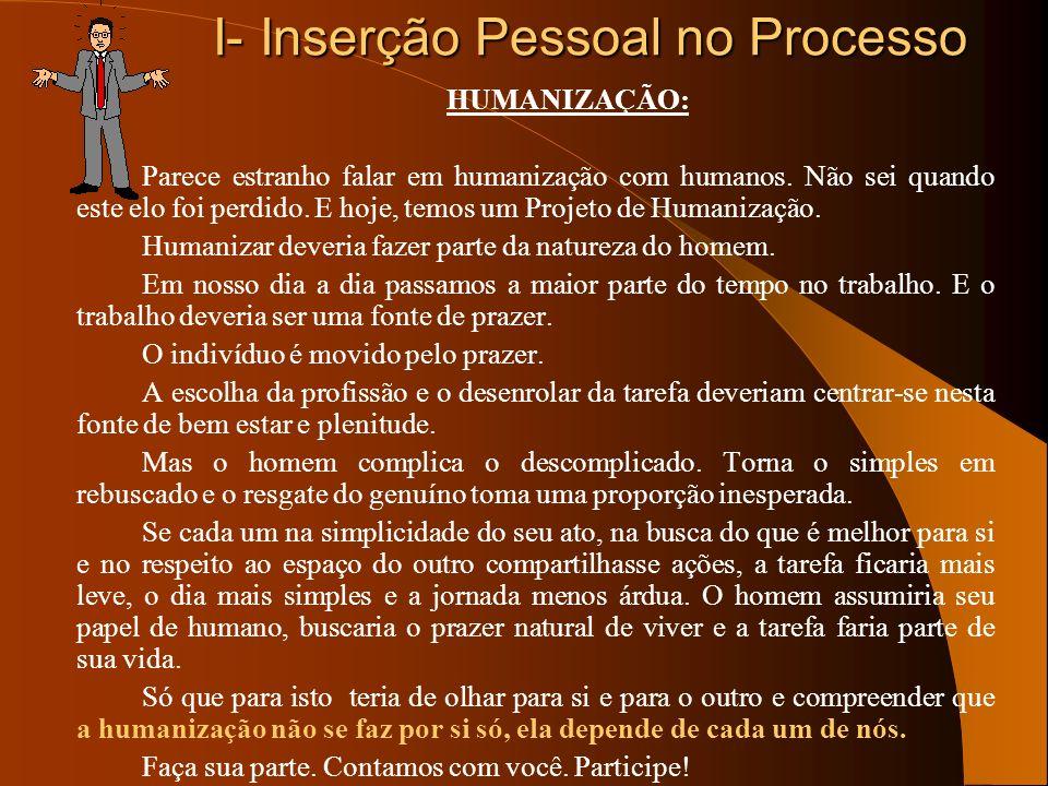 I- Inserção Pessoal no Processo