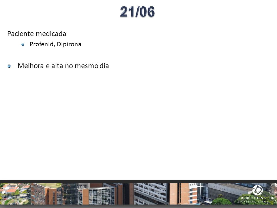 21/06 Paciente medicada Profenid, Dipirona Melhora e alta no mesmo dia
