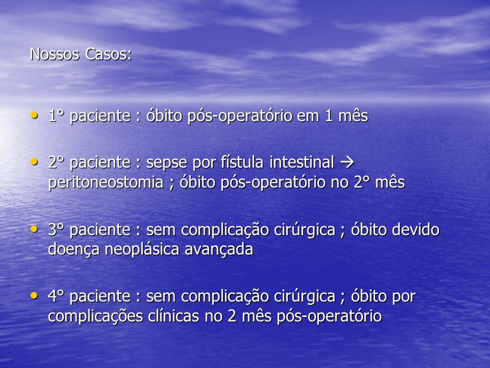 Nossos Casos: 1° paciente : óbito pós-operatório em 1 mês.
