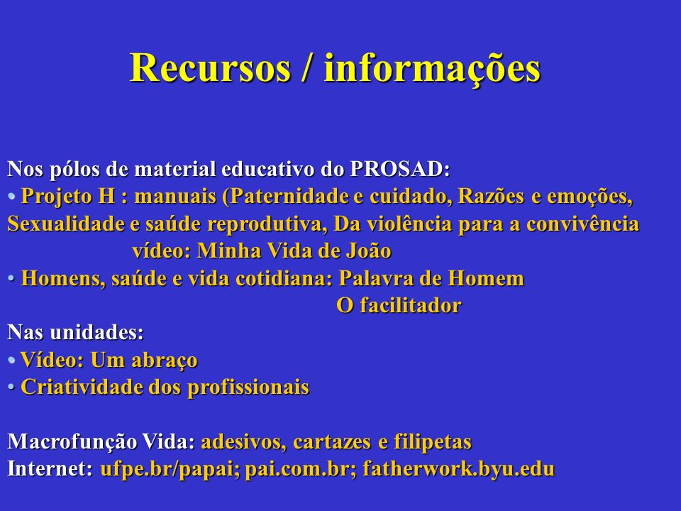 Recursos / informações