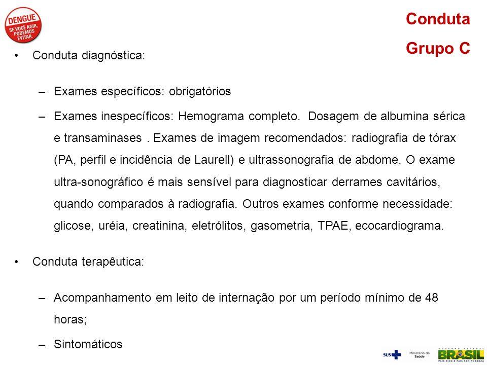 Conduta Grupo C Conduta diagnóstica: Exames específicos: obrigatórios