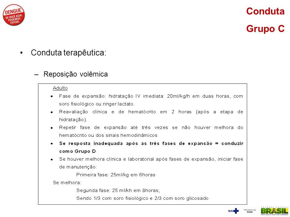 Conduta Grupo C Conduta terapêutica: Reposição volêmica