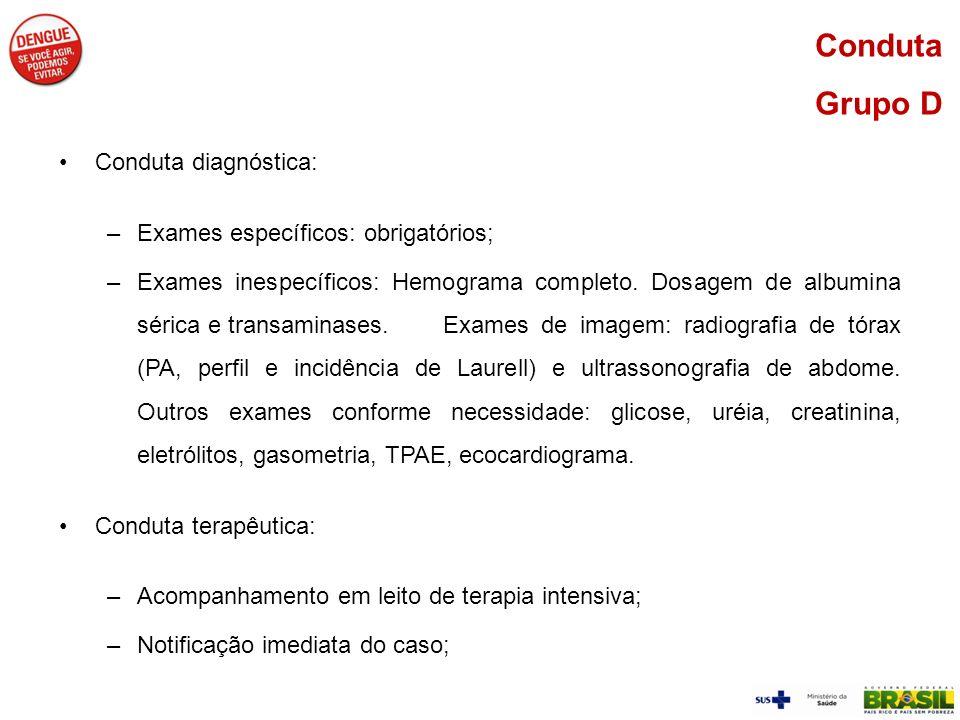 Conduta Grupo D Conduta diagnóstica: Exames específicos: obrigatórios;