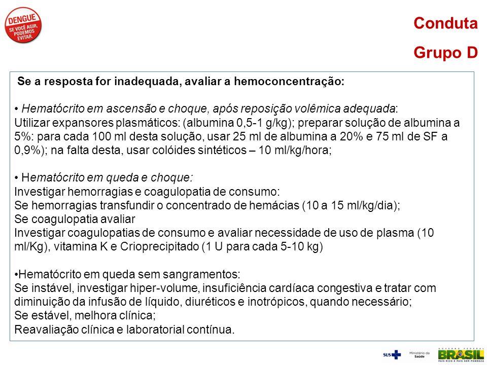 Conduta Grupo DSe a resposta for inadequada, avaliar a hemoconcentração: Hematócrito em ascensão e choque, após reposição volêmica adequada: