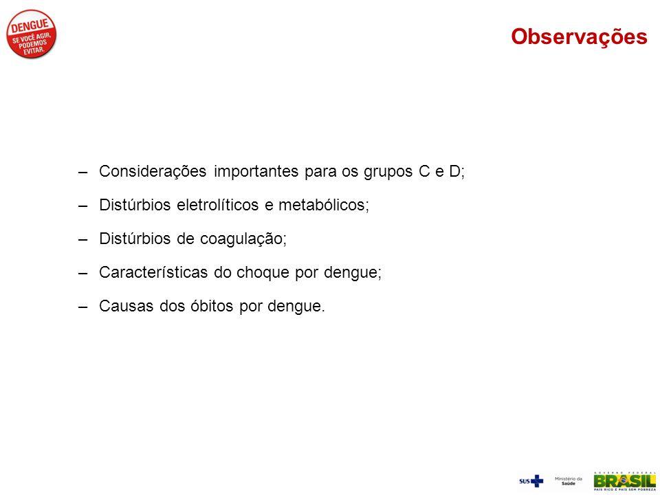 Observações Considerações importantes para os grupos C e D;