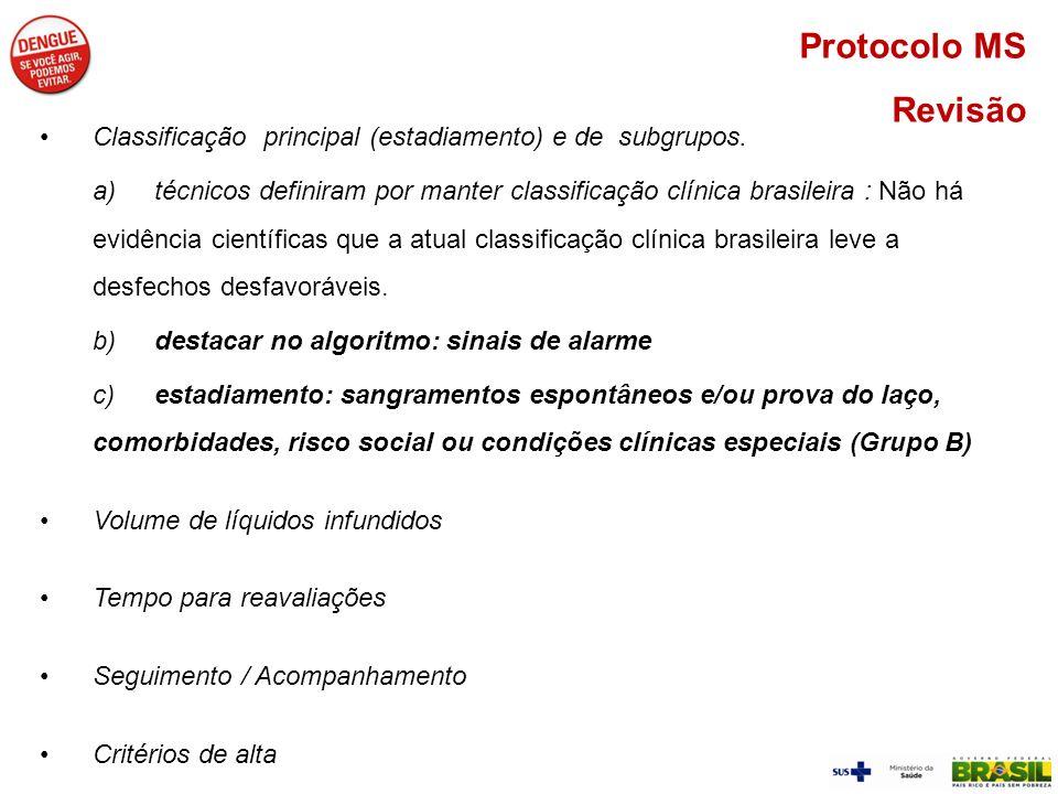 Protocolo MS Revisão. Classificação principal (estadiamento) e de subgrupos.