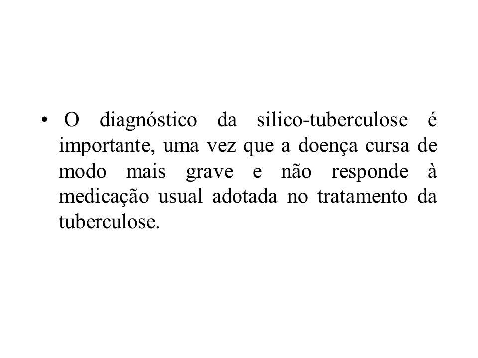 O diagnóstico da silico-tuberculose é importante, uma vez que a doença cursa de modo mais grave e não responde à medicação usual adotada no tratamento da tuberculose.