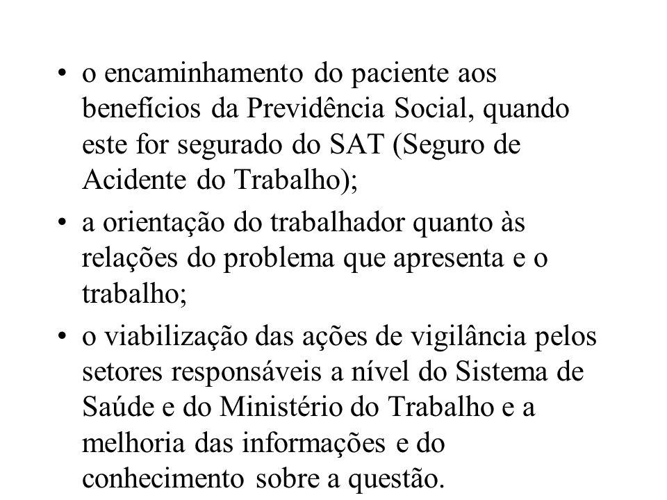o encaminhamento do paciente aos benefícios da Previdência Social, quando este for segurado do SAT (Seguro de Acidente do Trabalho);