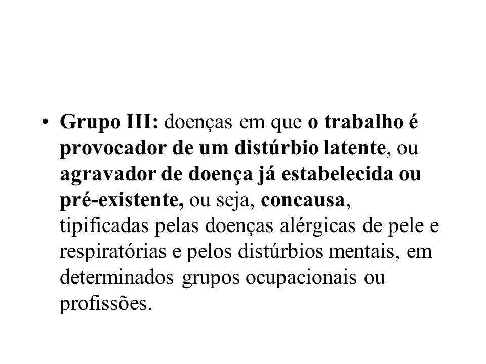 Grupo III: doenças em que o trabalho é provocador de um distúrbio latente, ou agravador de doença já estabelecida ou pré-existente, ou seja, concausa, tipificadas pelas doenças alérgicas de pele e respiratórias e pelos distúrbios mentais, em determinados grupos ocupacionais ou profissões.