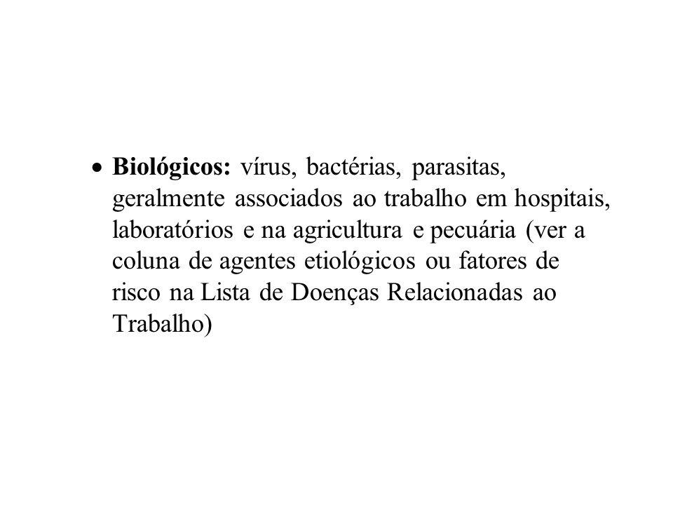 Biológicos: vírus, bactérias, parasitas, geralmente associados ao trabalho em hospitais, laboratórios e na agricultura e pecuária (ver a coluna de agentes etiológicos ou fatores de risco na Lista de Doenças Relacionadas ao Trabalho)