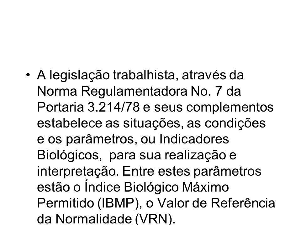 A legislação trabalhista, através da Norma Regulamentadora No