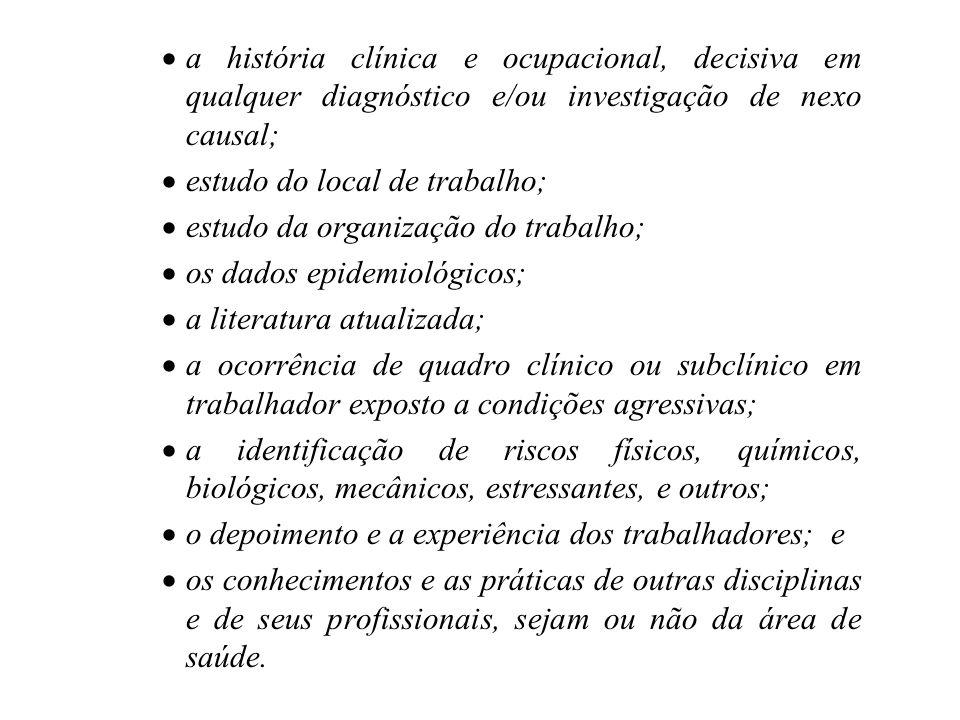 a história clínica e ocupacional, decisiva em qualquer diagnóstico e/ou investigação de nexo causal;