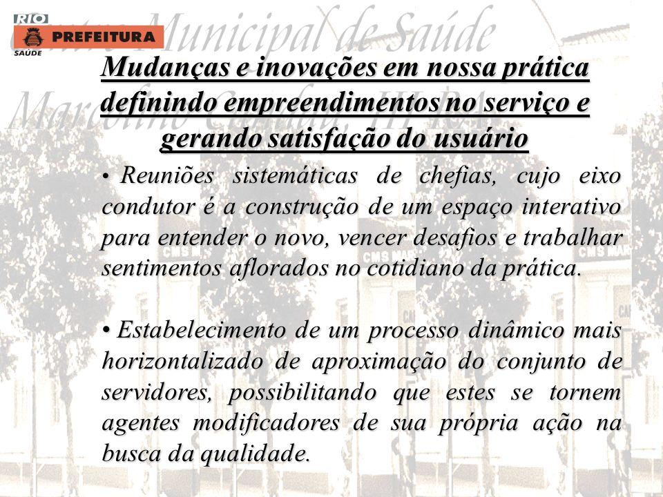 Mudanças e inovações em nossa prática definindo empreendimentos no serviço e gerando satisfação do usuário