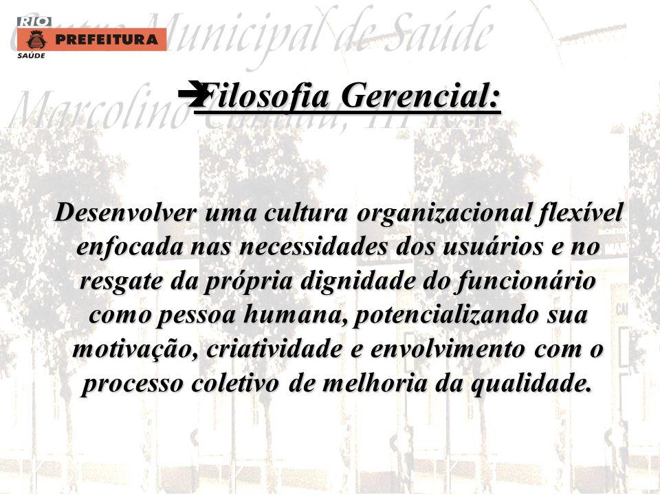 Filosofia Gerencial: Desenvolver uma cultura organizacional flexível enfocada nas necessidades dos usuários e no resgate da própria dignidade do funcionário como pessoa humana, potencializando sua motivação, criatividade e envolvimento com o processo coletivo de melhoria da qualidade.