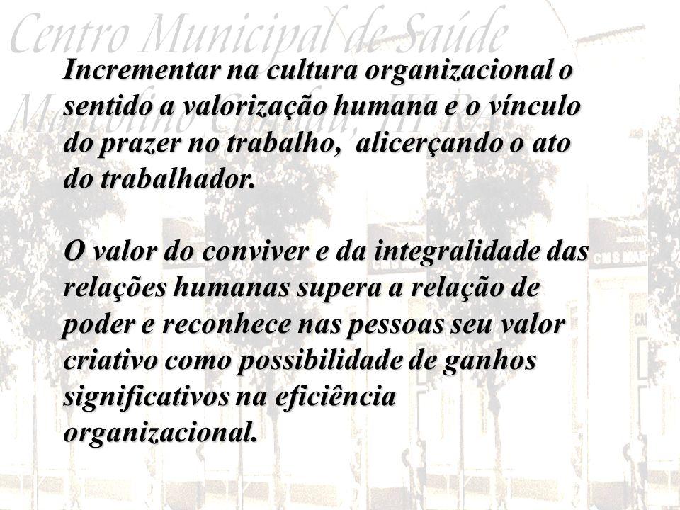 Incrementar na cultura organizacional o sentido a valorização humana e o vínculo do prazer no trabalho, alicerçando o ato do trabalhador.