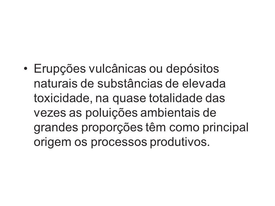 Erupções vulcânicas ou depósitos naturais de substâncias de elevada toxicidade, na quase totalidade das vezes as poluições ambientais de grandes proporções têm como principal origem os processos produtivos.