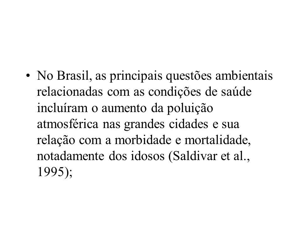 No Brasil, as principais questões ambientais relacionadas com as condições de saúde incluíram o aumento da poluição atmosférica nas grandes cidades e sua relação com a morbidade e mortalidade, notadamente dos idosos (Saldivar et al., 1995);