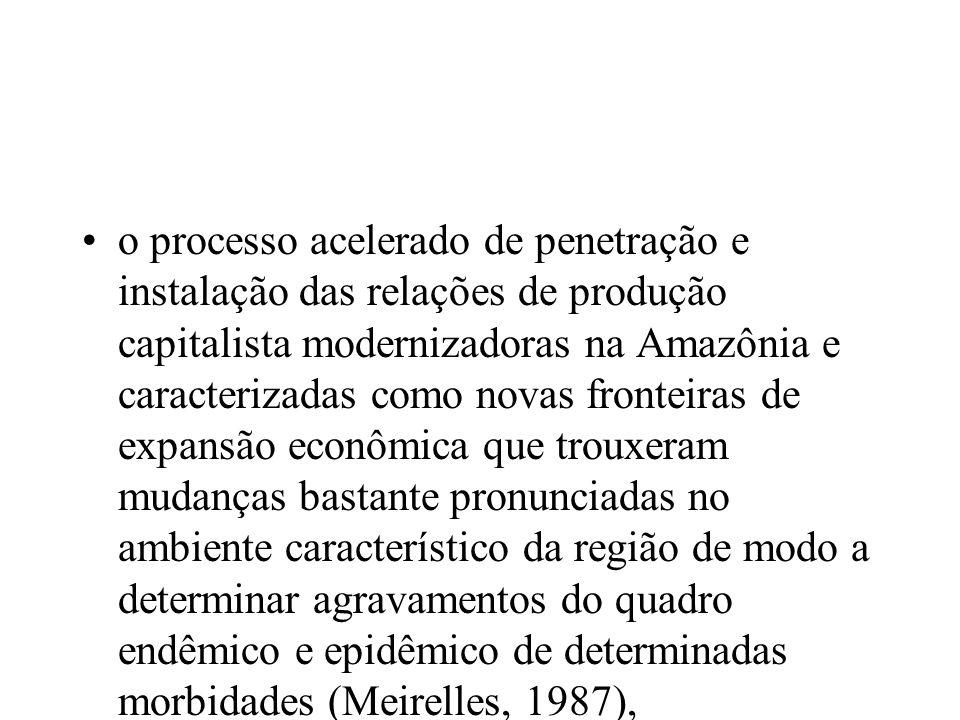o processo acelerado de penetração e instalação das relações de produção capitalista modernizadoras na Amazônia e caracterizadas como novas fronteiras de expansão econômica que trouxeram mudanças bastante pronunciadas no ambiente característico da região de modo a determinar agravamentos do quadro endêmico e epidêmico de determinadas morbidades (Meirelles, 1987),