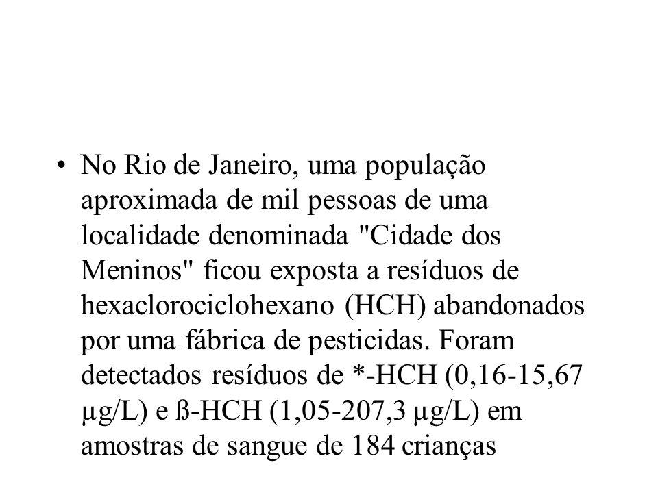 No Rio de Janeiro, uma população aproximada de mil pessoas de uma localidade denominada Cidade dos Meninos ficou exposta a resíduos de hexaclorociclohexano (HCH) abandonados por uma fábrica de pesticidas.