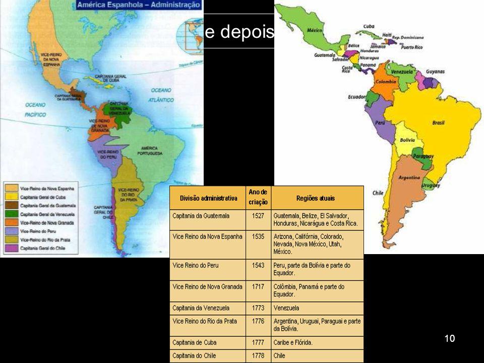 Os mapas: antes e depois da independência