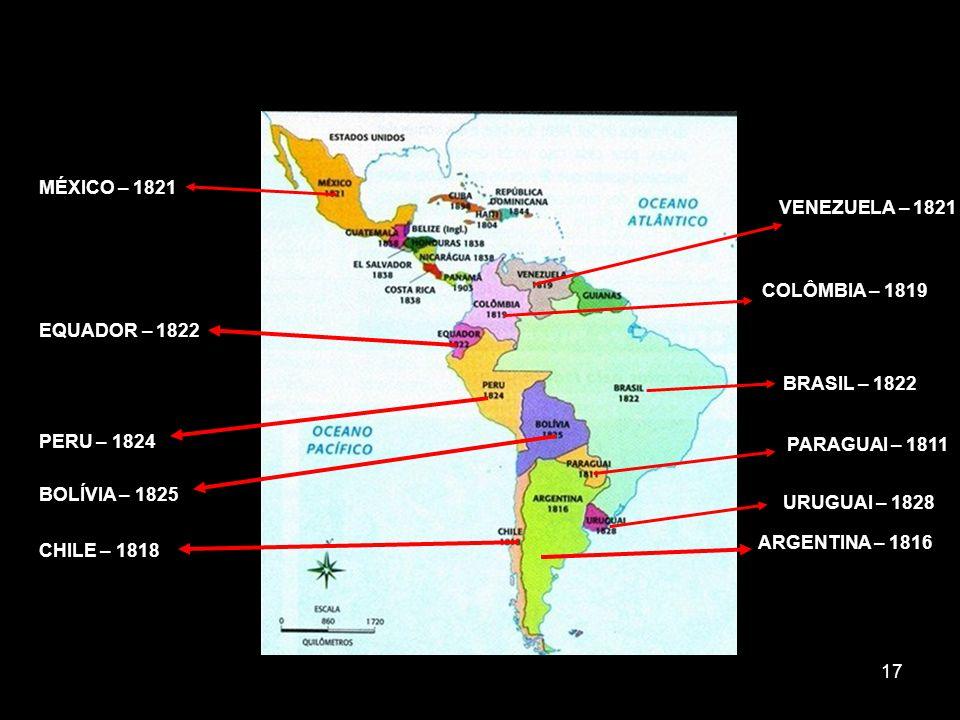 MÉXICO – 1821 VENEZUELA – 1821. COLÔMBIA – 1819. EQUADOR – 1822. BRASIL – 1822. PERU – 1824. PARAGUAI – 1811.