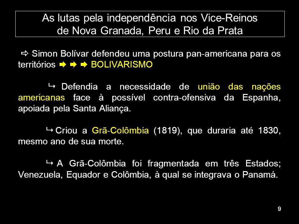 As lutas pela independência nos Vice-Reinos de Nova Granada, Peru e Rio da Prata
