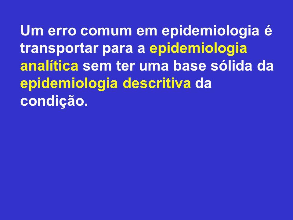 Um erro comum em epidemiologia é transportar para a epidemiologia analítica sem ter uma base sólida da epidemiologia descritiva da condição.