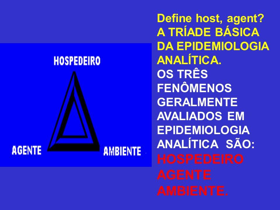 HOSPEDEIRO AGENTE AMBIENTE. Define host, agent