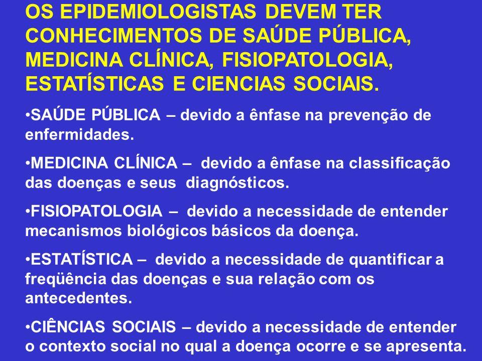 OS EPIDEMIOLOGISTAS DEVEM TER CONHECIMENTOS DE SAÚDE PÚBLICA, MEDICINA CLÍNICA, FISIOPATOLOGIA, ESTATÍSTICAS E CIENCIAS SOCIAIS.
