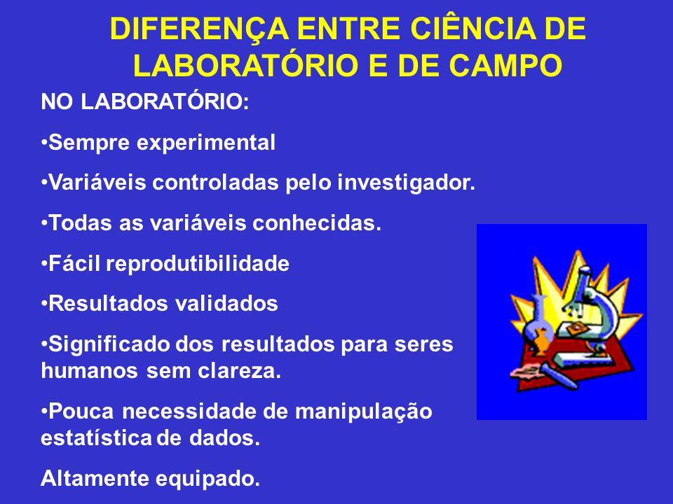 DIFERENÇA ENTRE CIÊNCIA DE LABORATÓRIO E DE CAMPO
