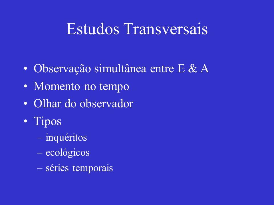 Estudos Transversais Observação simultânea entre E & A