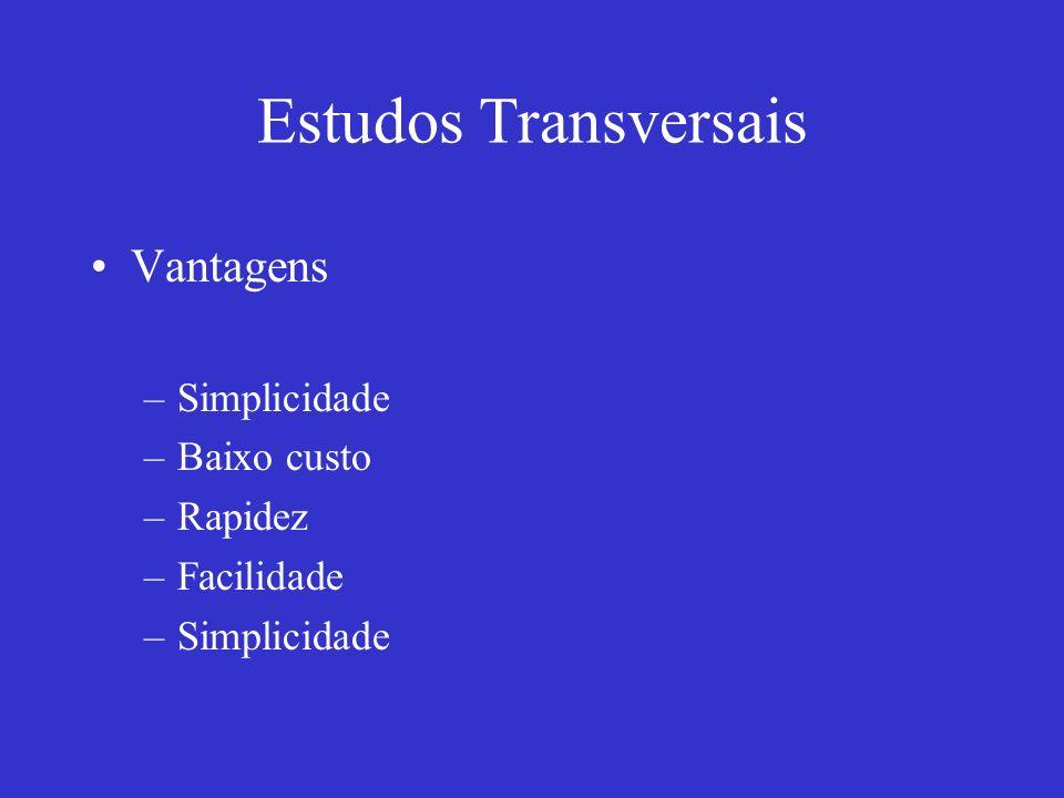 Estudos Transversais Vantagens Simplicidade Baixo custo Rapidez