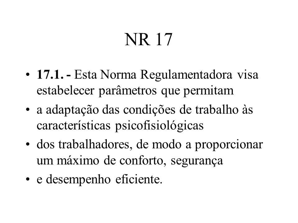 NR 17 17.1. - Esta Norma Regulamentadora visa estabelecer parâmetros que permitam.
