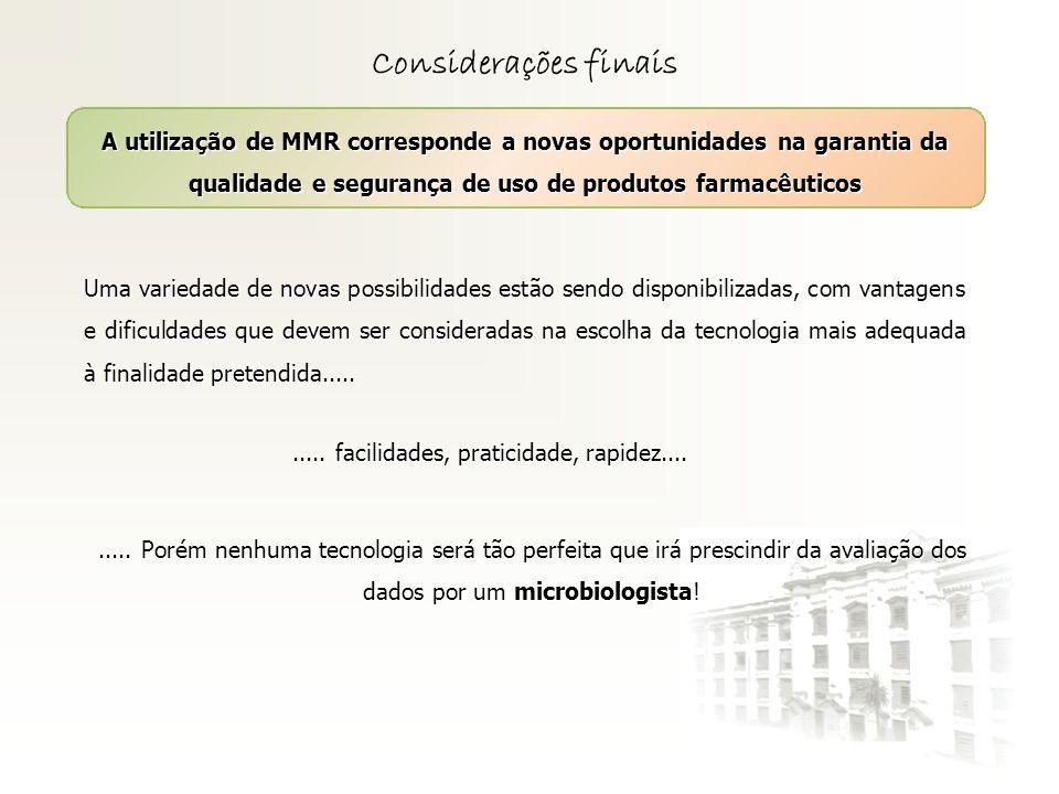 Considerações finaisA utilização de MMR corresponde a novas oportunidades na garantia da qualidade e segurança de uso de produtos farmacêuticos.