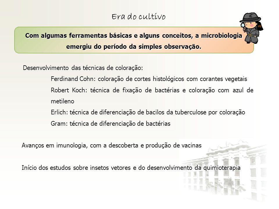 Era do cultivoCom algumas ferramentas básicas e alguns conceitos, a microbiologia emergiu do período da simples observação.
