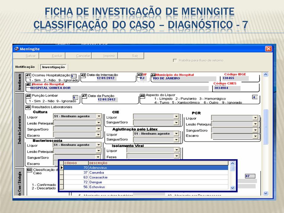 Ficha de investigação de Meningite Classificação do caso – DIAGNÓSTICO - 7