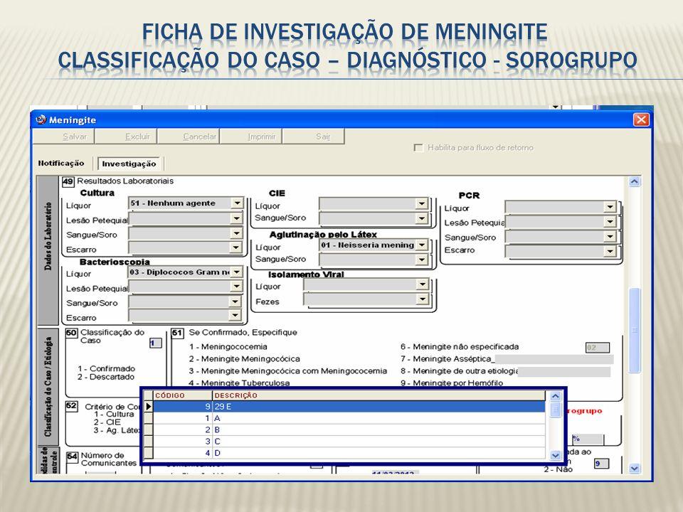 Ficha de investigação de Meningite Classificação do caso – DIAGNÓSTICO - SOROGRUPO