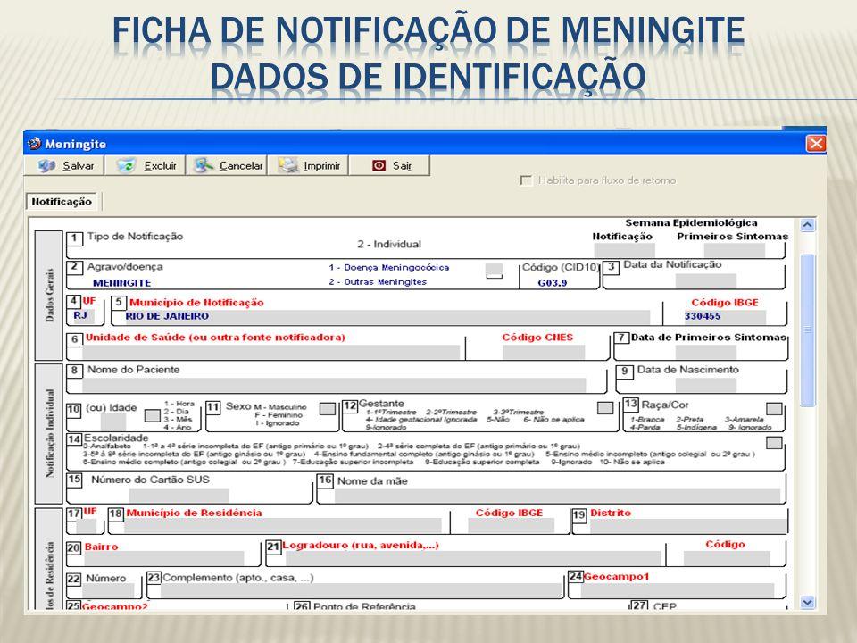 Ficha de notificação de Meningite Dados de Identificação