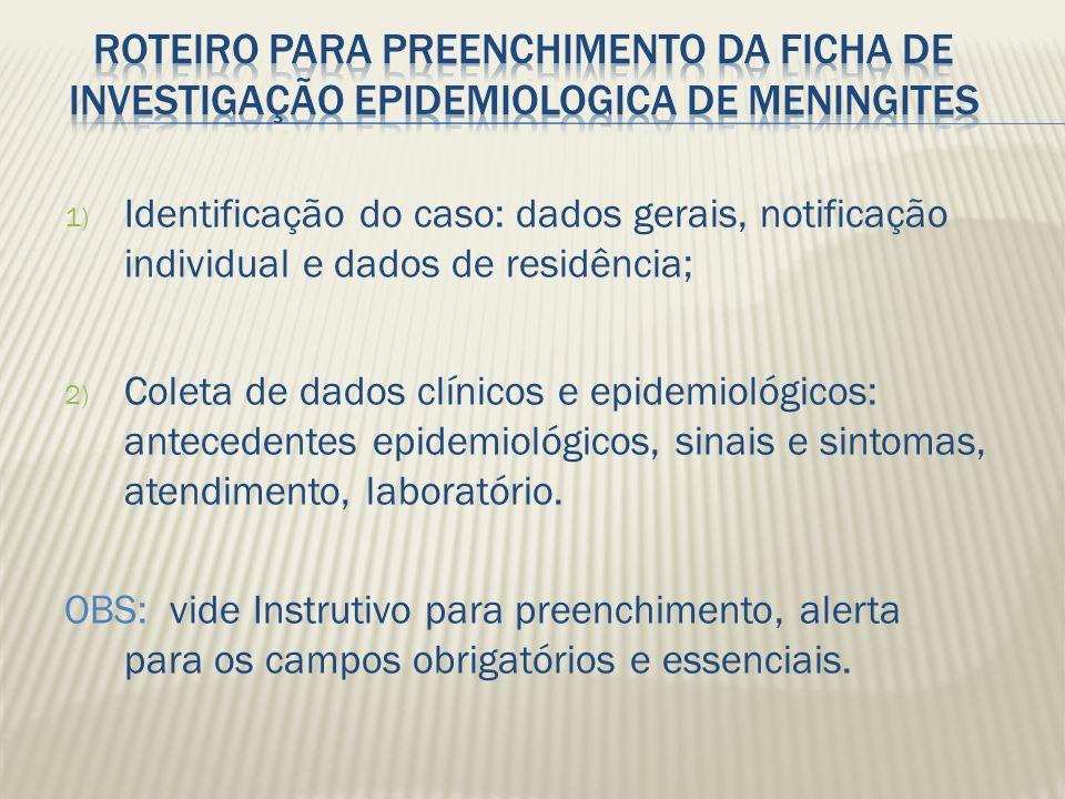 ROTEIRO PARA PREENCHIMENTO DA FICHA DE INVESTIGAÇÃO EPIDEMIOLOGICA DE MENINGITES