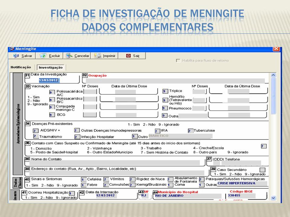 Ficha de investigação de Meningite Dados Complementares