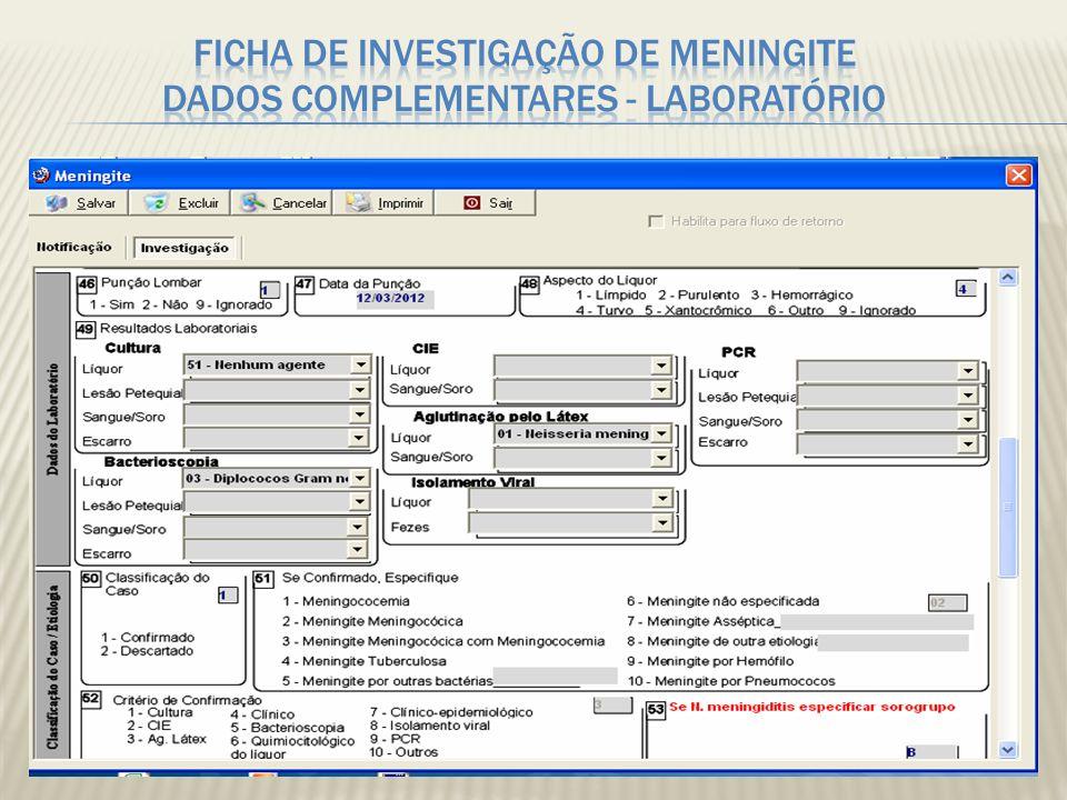 Ficha de investigação de Meningite Dados Complementares - LABORATÓRIO