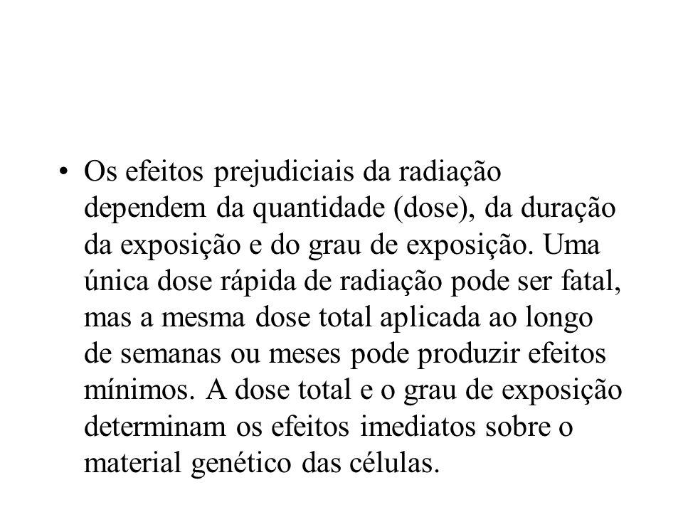 Os efeitos prejudiciais da radiação dependem da quantidade (dose), da duração da exposição e do grau de exposição.