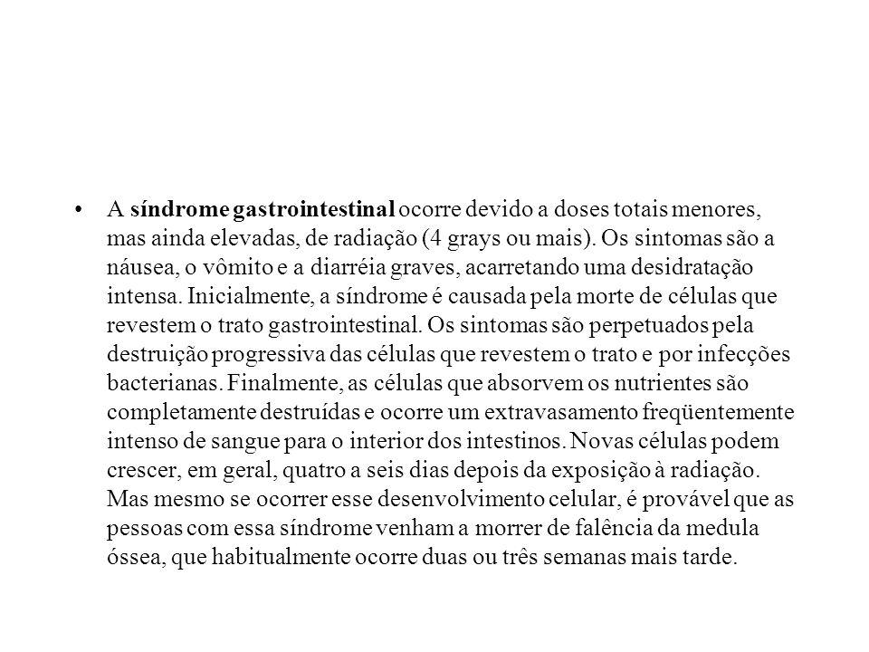 A síndrome gastrointestinal ocorre devido a doses totais menores, mas ainda elevadas, de radiação (4 grays ou mais).