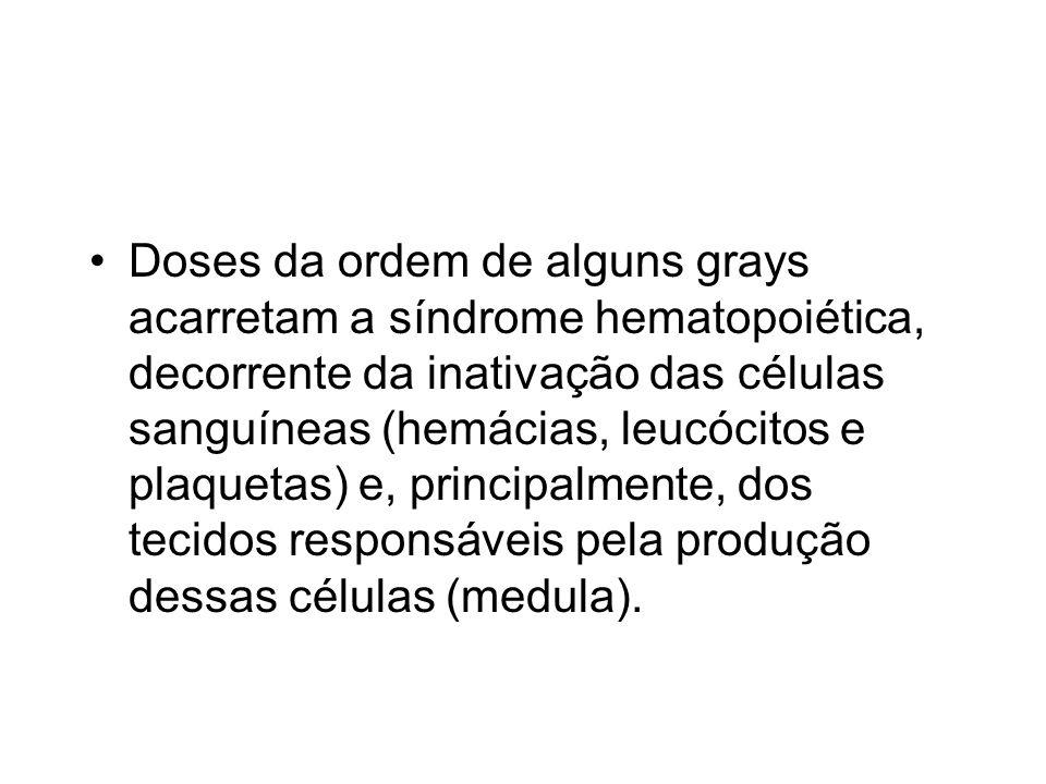 Doses da ordem de alguns grays acarretam a síndrome hematopoiética, decorrente da inativação das células sanguíneas (hemácias, leucócitos e plaquetas) e, principalmente, dos tecidos responsáveis pela produção dessas células (medula).