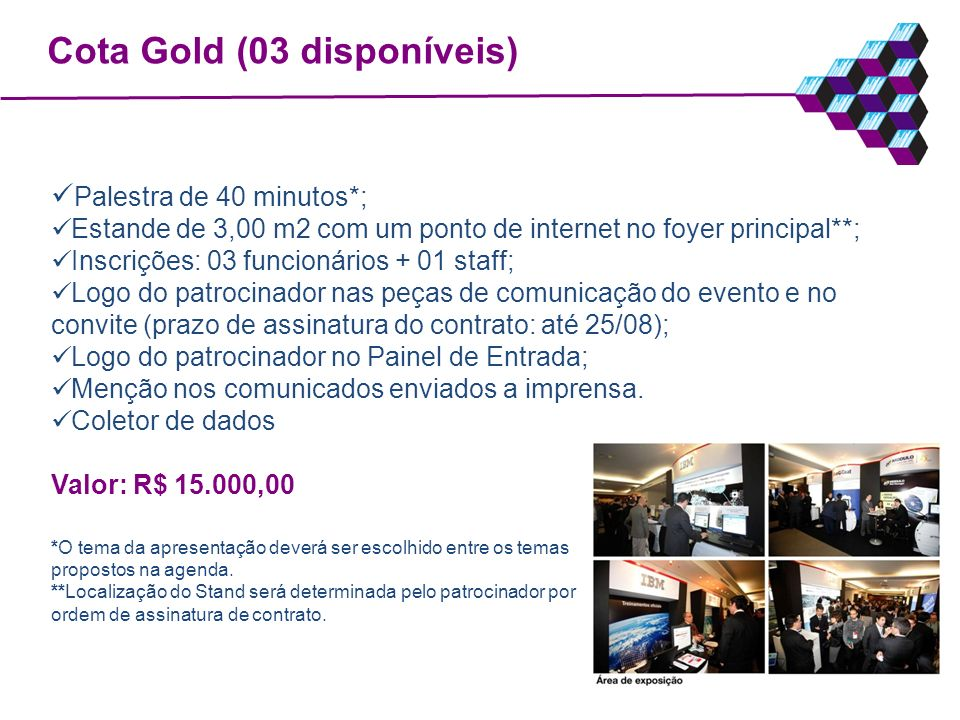 Cota Gold (03 disponíveis)