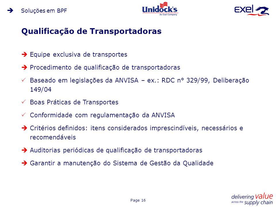 Qualificação de Transportadoras