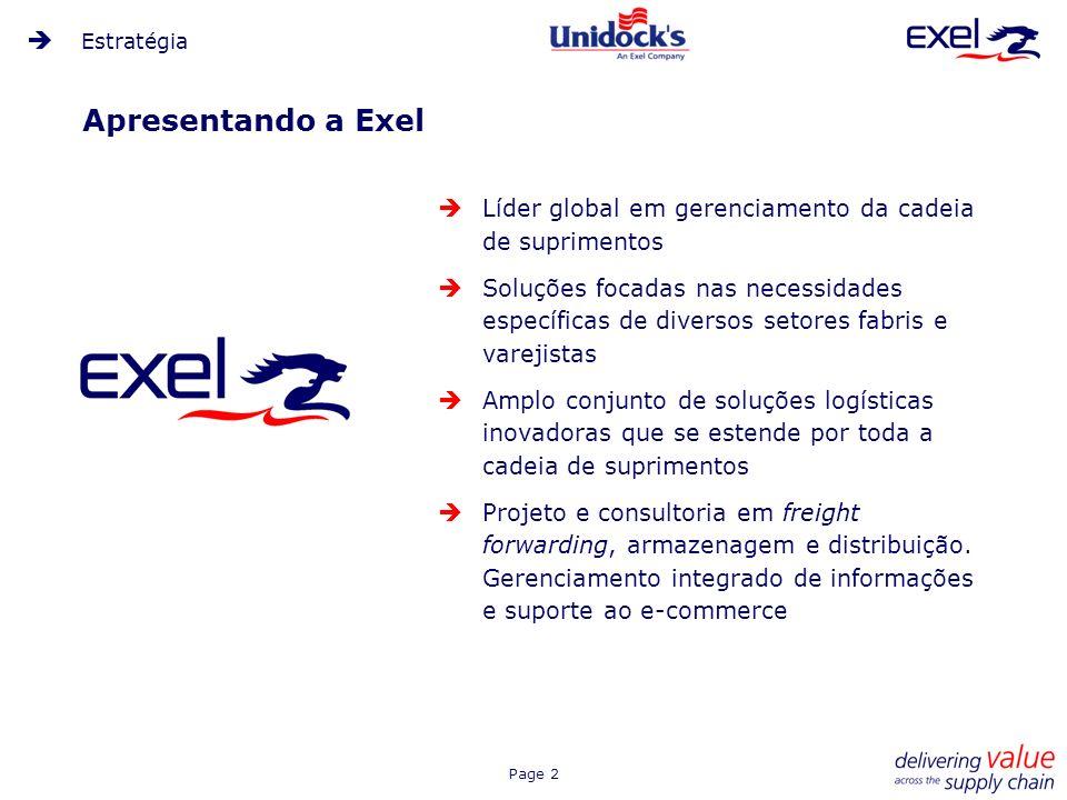Estratégia Apresentando a Exel. Líder global em gerenciamento da cadeia de suprimentos.