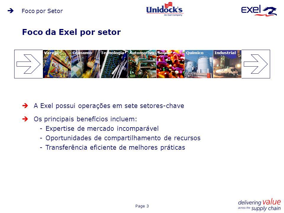 Foco da Exel por setor A Exel possui operações em sete setores-chave