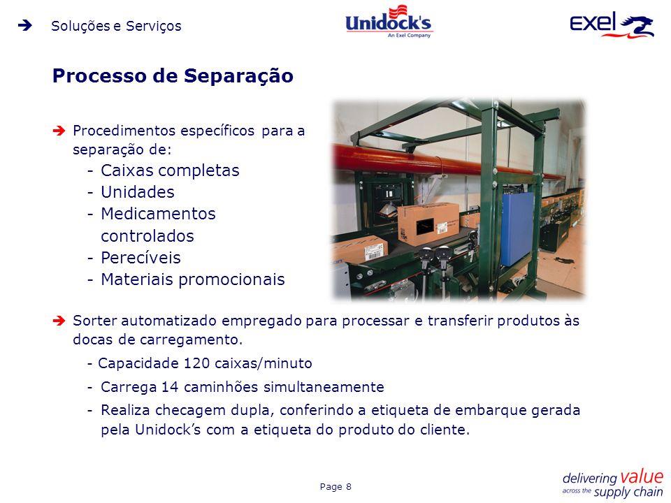 Processo de Separação Caixas completas Unidades