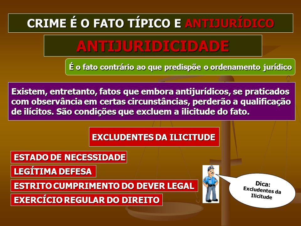 CRIME É O FATO TÍPICO E ANTIJURÍDICO Excludentes da Ilicitude